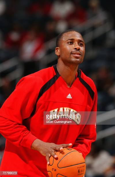 Lorenzen Wright of the Atlanta Hawks shoots during warmups prior to a game against the Seattle Sonics at Philips Arena on November 11 2006 in Atlanta...