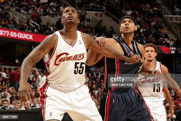 Lorenzen Wright of the Cleveland Cavaliers and Jared Dudley of the Charlotte Bobcats battle for position during the game at Quicken Loans Arena on...