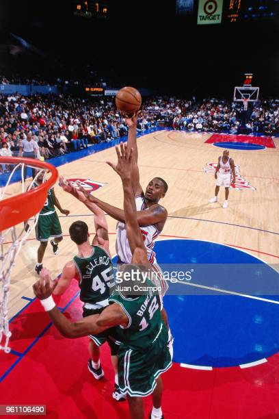 Lorenzen Wright of the Los Angeles Clippers goes to the basket against the Boston Celtics at Los Angeles Memorial Sports Arena in Los Angeles...