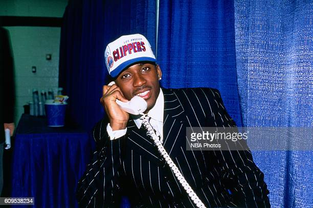 Lorenzen Wright talks on the phone after he was drafted by the Los Angeles Clippers on June 26 1996 in East Rutherford New Jersey NOTE TO USER User...