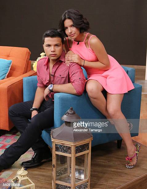 Lorenzo Antonio Aguilar and Angela Aguilar are seen on the set of 'Despierta America' at Univision Studios on June 17 2016 in Miami Florida