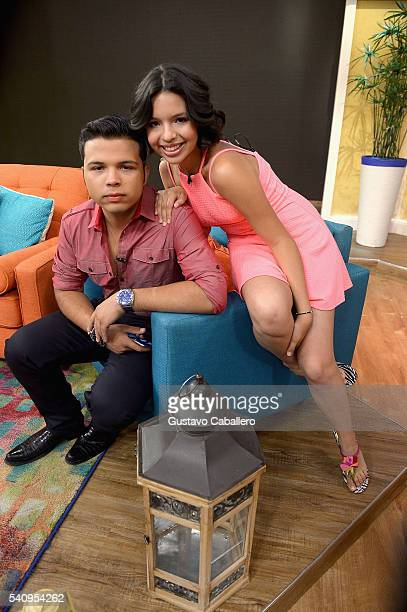 Lorenzo Antonio Aguilar and Angela Aguilar are seen on the set of 'Despierta America' at Univision Studios on June 17 2016 in Miami Florida