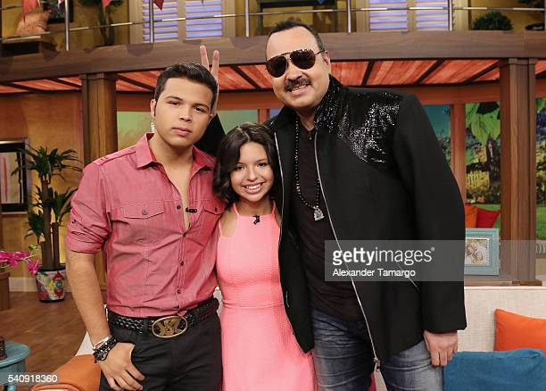 Lorenzo Antonio Aguilar Angela Aguilar and Pepe Aguilar are seen on the set of 'Despierta America' at Univision Studios on June 17 2016 in Miami...