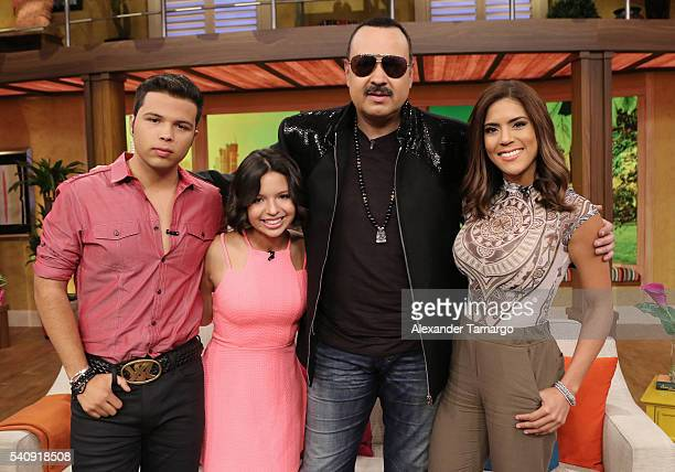 Lorenzo Antonio Aguilar Angela Aguilar Pepe Aguilar and Francisca Lachapel are seen on the set of 'Despierta America' at Univision Studios on June 17...