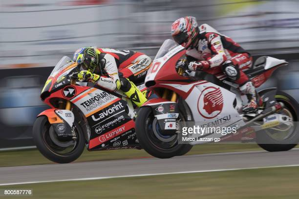 Lorenzo Balbassarri of Italy and Forward Racing Team leads Takaaki Nakagami of Japan and Idemitsu Honda Team Asia during the MotoGP Netherlands...