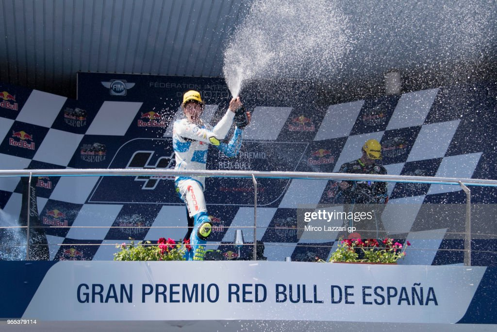 Lorenzo Balbassarri of Italy and Pons HP40 celebrates the Moto2 victory on the podium at the end of the Moto2 race during the MotoGp of Spain - Race at Circuito de Jerez on May 6, 2018 in Jerez de la Frontera, Spain.