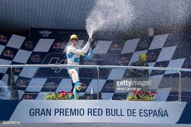 Lorenzo Balbassarri of Italy and Pons HP40 celebrates the Moto2 victory on the podium at the end of the Moto2 race during the MotoGp of Spain Race at...