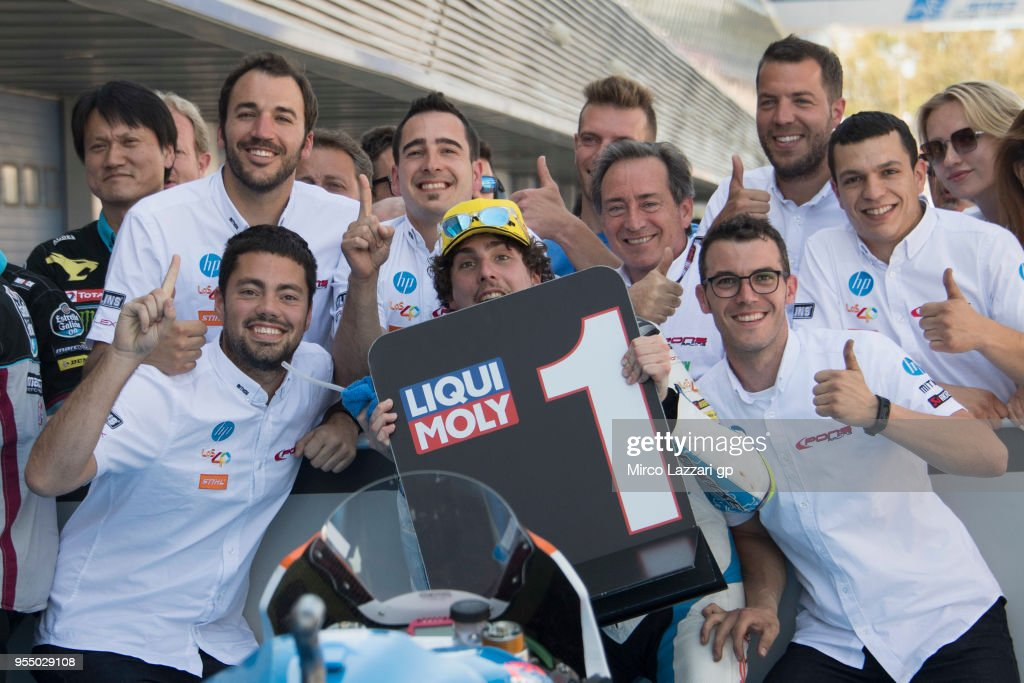 Lorenzo Balbassarri of Italy and Pons HP40 celebrates the pole position (his first pole position in Moto2) at the end of the qualifying practice during the MotoGp of Spain - Qualifying at Circuito de Jerez on May 5, 2018 in Jerez de la Frontera, Spain.