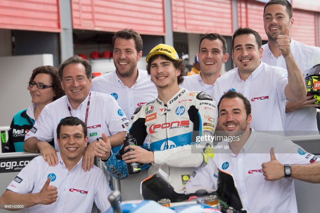Lorenzo Balbassarri of Italy and Pons HP40 celebrates with team the Moto2 second place at the end of the qualifying practice during the MotoGp of Argentina - Qualifying on April 7, 2018 in Rio Hondo, Argentina.
