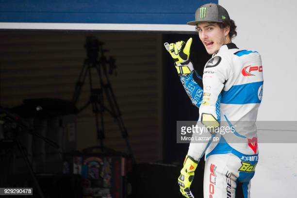 Lorenzo Balbassarri of Italy and Pons HP40 jokes in pit during the Moto2 Moto3 Tests In Jerez at Circuito de Jerez on March 8 2018 in Jerez de la...