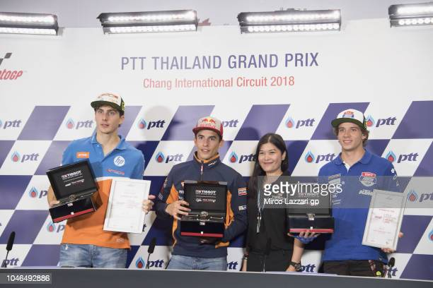 Lorenzo Balbassarri of Italy and Pons HP40 Marc Marquez of Spain and Repsol Honda Team and Marco Bezzecchi of Italy and Pruestel GP pose during the...