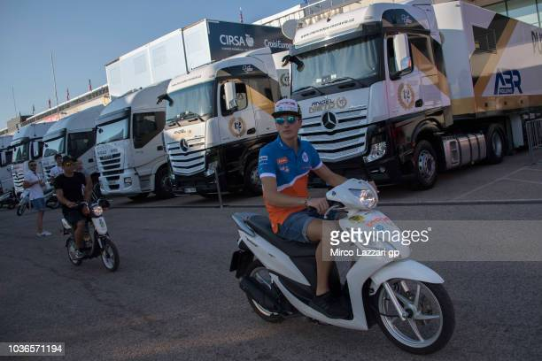 Lorenzo Balbassarri of Italy and Pons HP40 rides the scooter in paddock during the MotoGP of Aragon Previews at Motorland Aragon Circuit on September...