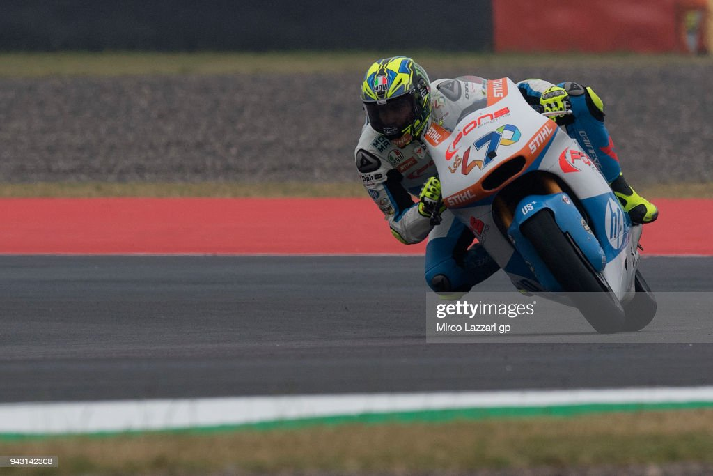 Lorenzo Balbassarri of Italy and Pons HP40 rounds the bend during the qualifying practice during the MotoGp of Argentina - Qualifying on April 7, 2018 in Rio Hondo, Argentina.