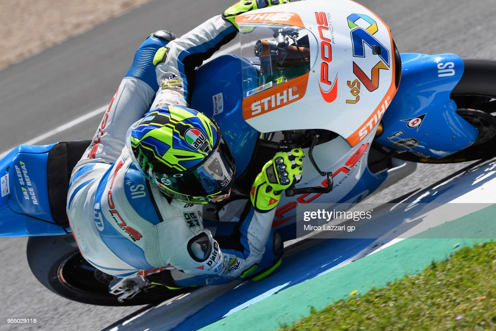 Lorenzo Balbassarri of Italy and Pons HP40 rounds the bend during the qualifying practice during the MotoGp of Spain - Qualifying at Circuito de Jerez on May 5, 2018 in Jerez de la Frontera, Spain.