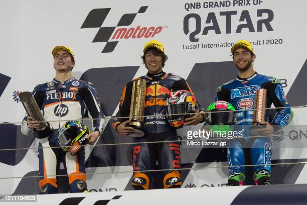 Lorenzo Baldassarri of Italy and FlexBox HP40, Tetsuta Nagashima of Japan and Red Bull KTM Ajo and Enea Bastianini of Italy and Italtrans Racing Team...