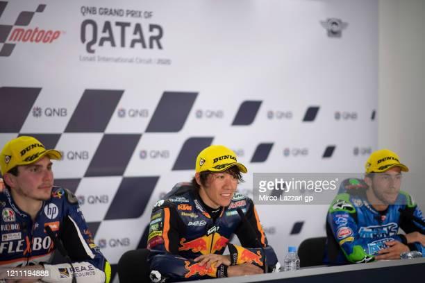 Lorenzo Baldassarri of Italy and FlexBox HP40, Tetsuta Nagashima of Japan and Red Bull KTM Ajo and Enea Bastianini of Italy and Italtrans Racing Team...