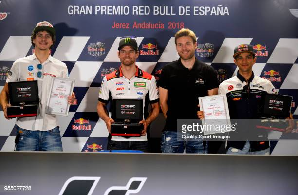 Lorenzo Baldassarri of Italy and Pons Hp40 Kalex Cal Crutchlow of England and LCR Honda Castrol Asier Illarramendi player of Real Sociedad and Jorge...