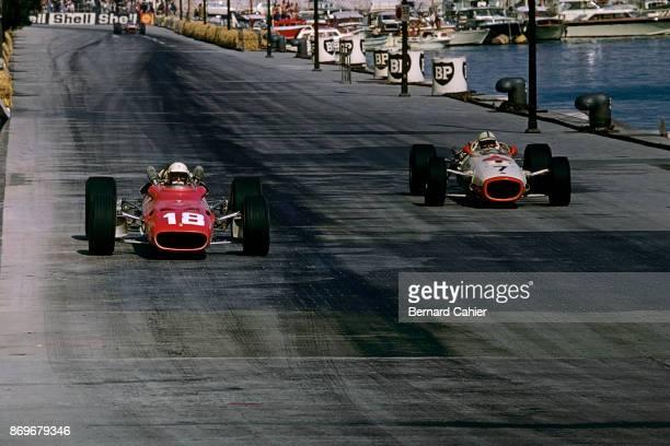Lorenzo Bandini John Surtees Ferrari 312/67 Honda RA273 Grand Prix of Monaco Circuit de Monaco 07 May 1967 Lorenzo Bandini and John Surtees during...