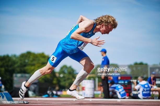 Lorenzo Benati of Italy competes in the Men's 400m Round 1 heats during European Athletics U20 Championships Day 1 at Kadriorg Stadium on July 15,...