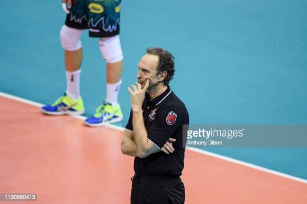 Lorenzo Bernardi coach of Perugia during the CEV Champions League match Chaumont 52 and SIR Safety Perugia on March 14 2019 in Reims France