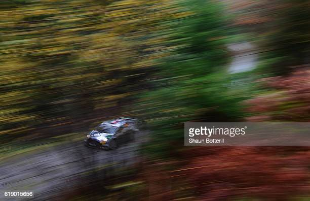 Lorenzo Bertelli and co driver Simone Scattolin of Italy and Team FWRT during the FIA World Rally Championship Great Britain Dyfi stage on October...