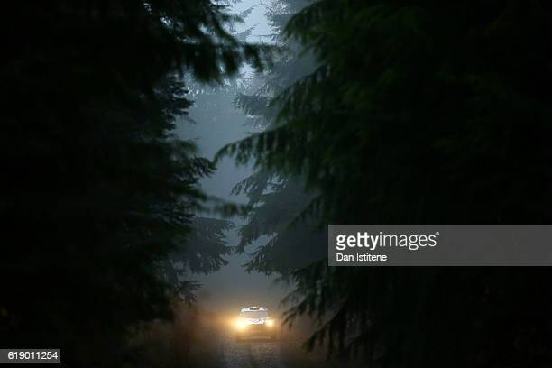 Lorenzo Bertelli of Italy and FWRT drives with codriver Simone Scattolin of Italy and FWRT during the Dyfi stage of the FIA World Rally Championship...