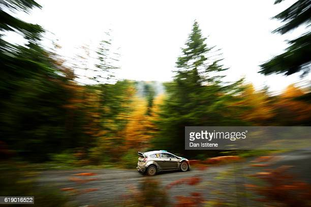 Lorenzo Bertelli of Italy and F.W.R.T. Drives with co-driver Simone Scattolin of Italy and F.W.R.T. During the Dyfi stage of the FIA World Rally...