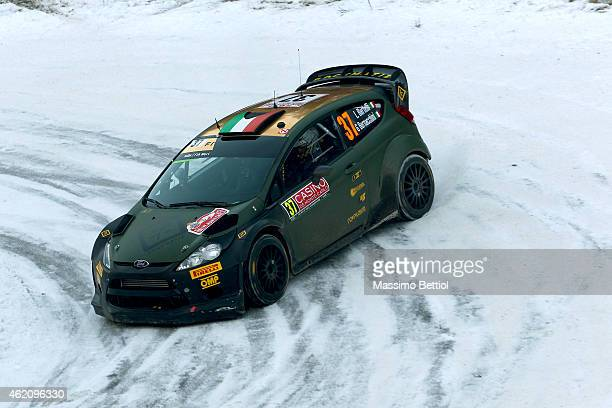 Lorenzo Bertelli of Italy and Giovanni Bernacchini of Italy compete in their FWRT Ford Fiesta RS WRC during Day Three of the WRC Montecarlo on...