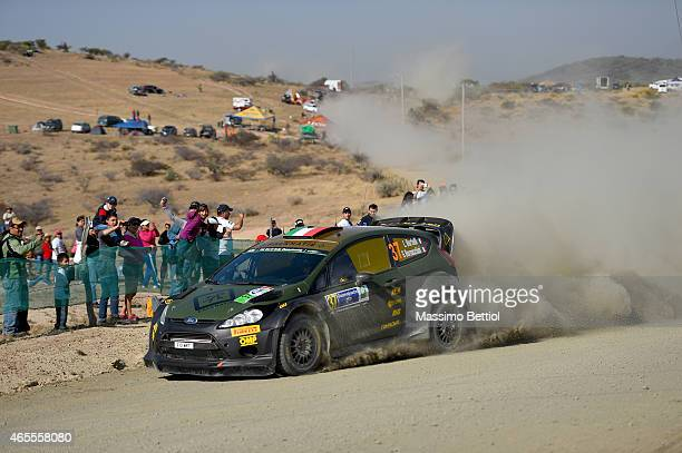 Lorenzo Bertelli of Italy and Giovanni Bernacchini of Italy compete in their FWRT Ford Fiesta RS WRC during Day Two of the WRC Mexico on March 7,...