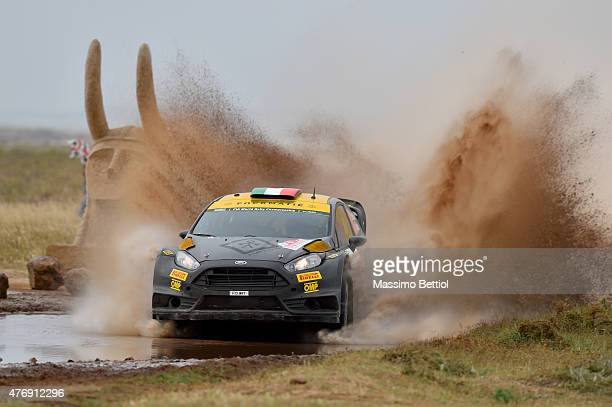 Lorenzo Bertelli of Italy and Lorenzo Granai of Italy compete in their FWRT Ford Fiesta RS WRC during Day One of the WRC Italia Sardinia on June 12...