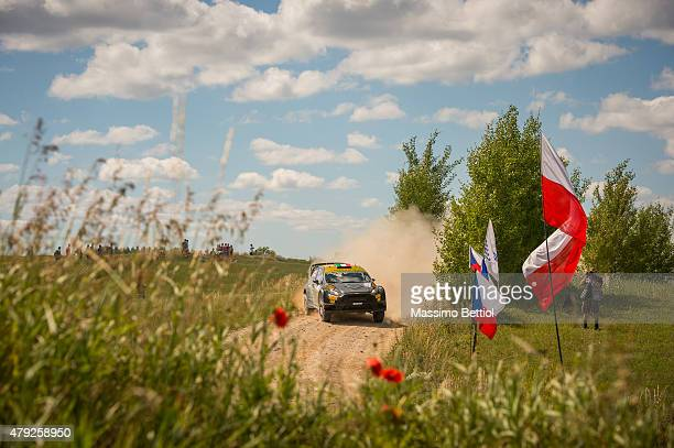 Lorenzo Bertelli of Italy and Lorenzo Granai of Italy compete in their FWRT Ford Fiesta RS WRC during the Shakedown of the WRC Poland on July 2 2015...