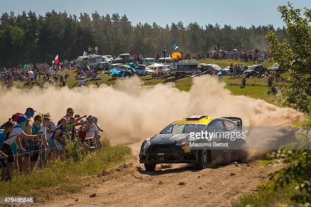 Lorenzo Bertelli of Italy and Lorenzo Granai of Italy compete in their FWRT Ford Fiesta RS WRC during Day Two of the WRC Poland on July 4 2015 in...