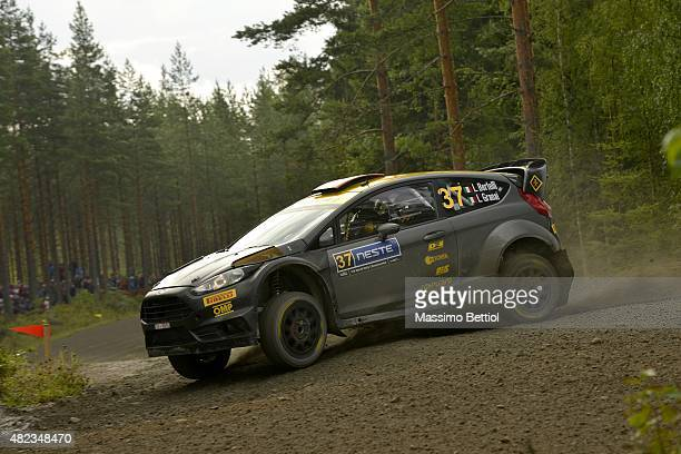 Lorenzo Bertelli of Italy and Lorenzo Granai of Italy compete in their FWRT Ford Fiesta RS WRC during the Shakedown of the WRC Finland on July 30,...