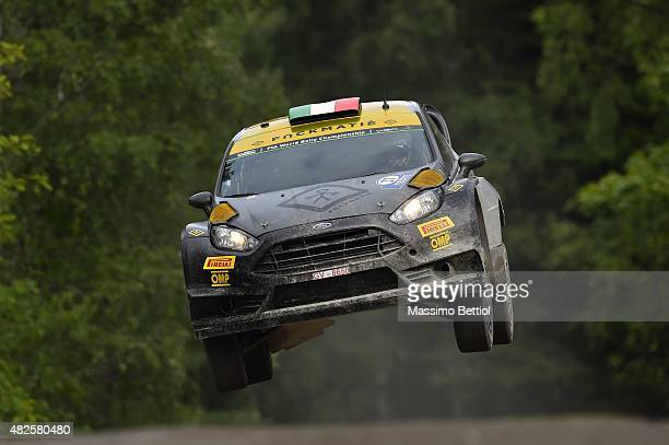 Lorenzo Bertelli of Italy and Lorenzo Granai of Italy compete in their FWRT Ford Fiesta RS WRC during Day One of the WRC Finland on July 31, 2015 in...