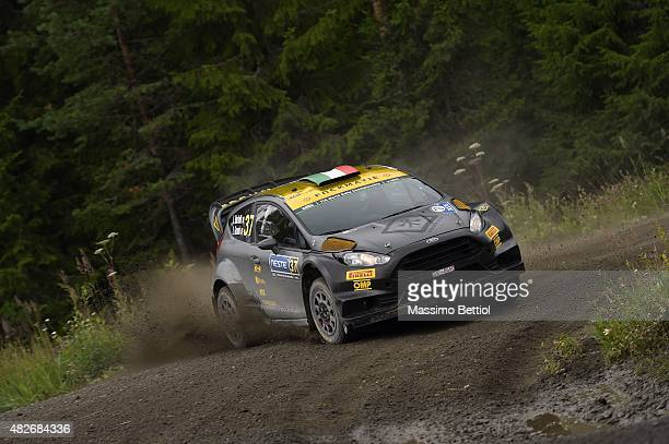Lorenzo Bertelli of Italy and Lorenzo Granai of Italy compete in their FWRT Ford Fiesta RS WRC during Day Two of the WRC Finland on August 1, 2015 in...