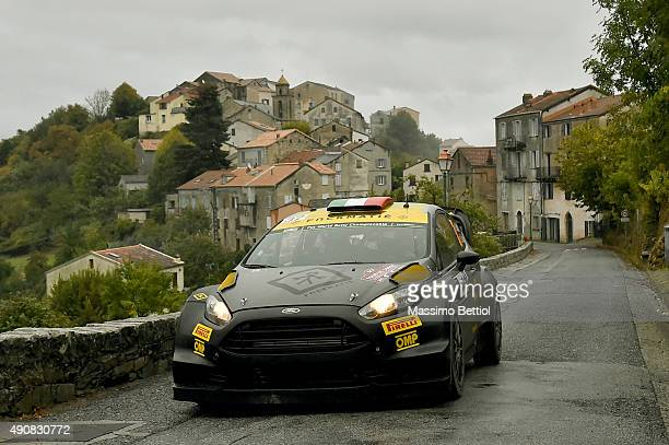 Lorenzo Bertelli of Italy and Lorenzo Granai of Italy compete in their FWRT Ford Fiesta RS WRC during the Shakedown of the WRC France on October 1,...