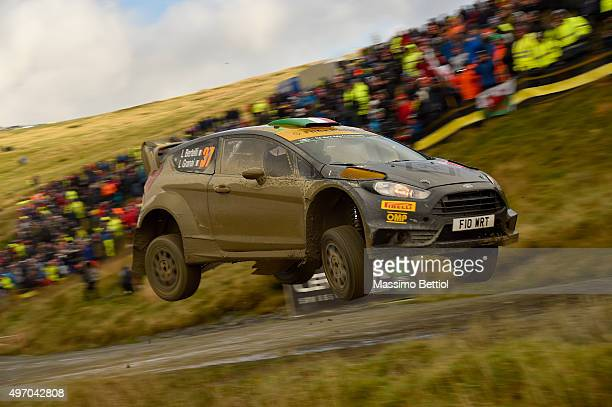 Lorenzo Bertelli of Italy and Lorenzo Granai of Italy compete in their FWRT Ford Fiesta RS WRC during Day One of the WRC Wales Rally GB on November...