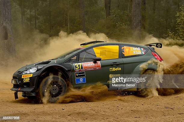 Lorenzo Bertelli of Italy and Mitia Dotta of Italy compete in their FWRT Ford Fiesta RRC during Day One of the WRC Australia on September 12, 2014 in...