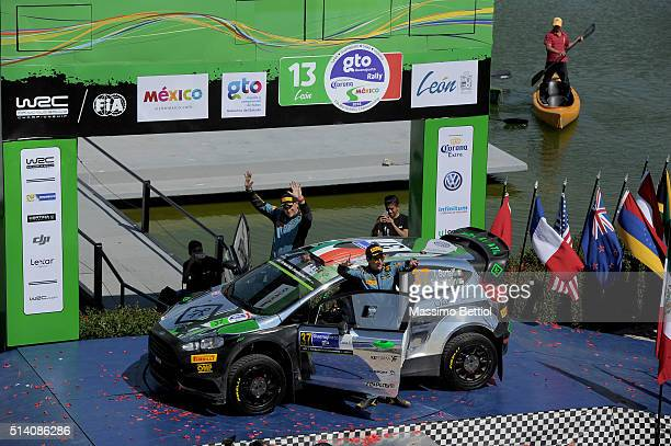 Lorenzo Bertelli of Italy and Simone Scattolin of Italy celebrate their 8th position in the overall during Day Three of the WRC Mexico on March 6,...