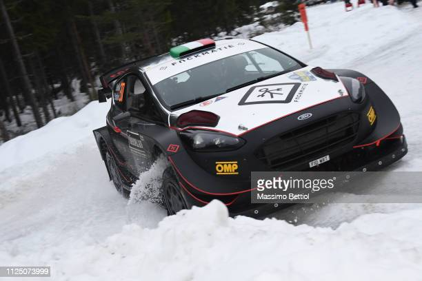 Lorenzo Bertelli of Italy and Simone Scattolin of Italy compete in their M-Sport Ford WRT Ford Fiesta WRC during Day One of the WRC Sweden on...