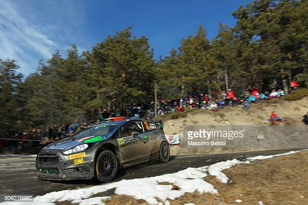 Lorenzo Bertelli of Italy and Simone Scattolin of Italy compete in their FWRT Ford Fiesta RS WRC during Day Two of the WRC Monte Carlo on January 22,...