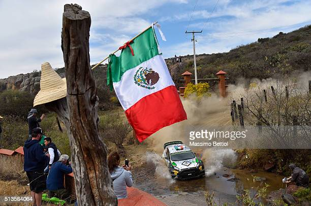 Lorenzo Bertelli of Italy and Simone Scattolin of Italy compete in their FWRT Ford Fiesta RS WRC during the Shakedown of the WRC Mexico on March 3,...