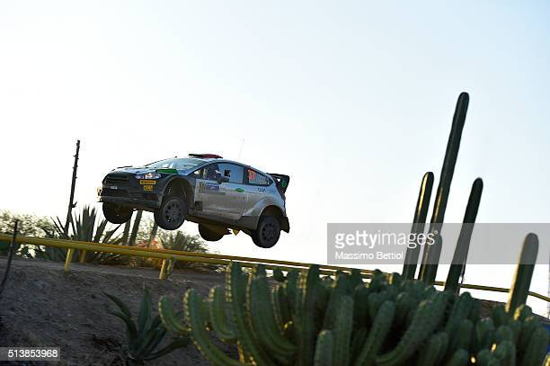 Lorenzo Bertelli of Italy and Simone Scattolin of Italy compete in their FWRT Ford Fiesta RS WRC during Day One of the WRC Mexico on March 4, 2016 in...