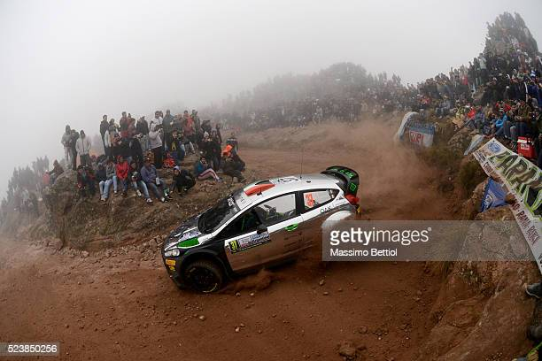 Lorenzo Bertelli of Italy and Simone Scattolin of Italy compete in their FWRT Ford Fiesta RS WRC during Day Three of the WRC Argentina on April 24,...