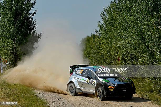 Lorenzo Bertelli of Italy and Simone Scattolin of Italy compete in their FWRT Ford Fiesta RS WRC during the Shakedown of the WRC Poland on June 30...