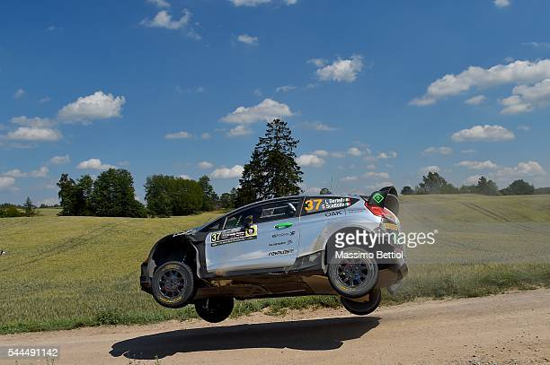 Lorenzo Bertelli of Italy and Simone Scattolin of Italy compete in their FWRT Ford Fiesta RS WRC during Day Two of the WRC Poland on July 2 2016 in...