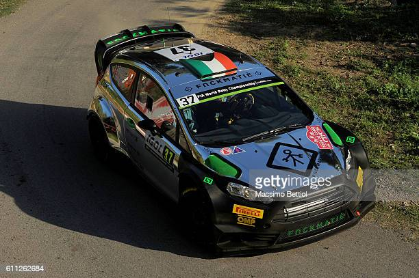 Lorenzo Bertelli of Italy and Simone Scattolin of Italy compete in their FWRT Ford Fiesta RS WRC during the Shakedown of the WRC France on September...