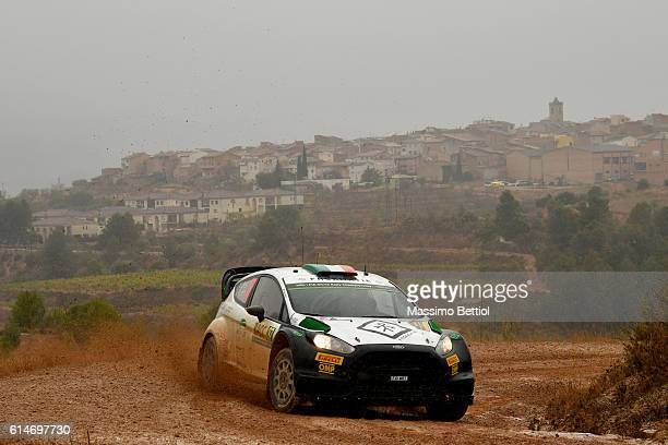 Lorenzo Bertelli of Italy and Simone Scattolin of Italy compete in their FWRT Ford Fiesta RS WRC during Day One of the WRC Spain on October 14, 2016...