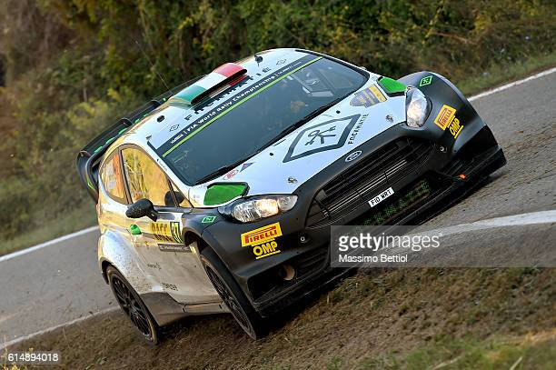 Lorenzo Bertelli of Italy and Simone Scattolin of Italy compete in their FWRT Ford Fiesta RS WRC during Day Two of the WRC Spain on October 15, 2016...