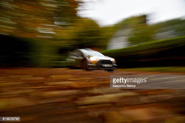 Lorenzo Bertelli of Italy and Simone Scattolin of Italy compete in their FWRT Ford Fiesta RS WRC during Day Two of the WRC Great Britain on October...